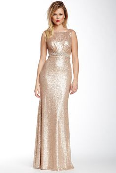 Cutout Sequin Gown