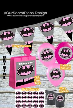 Printable Batgirl Party Banner, Balloon Stickers, Cup Labels, Gift Bag Tags, Party Favors, Plate Labels, by OurSecretPlace, $3.99