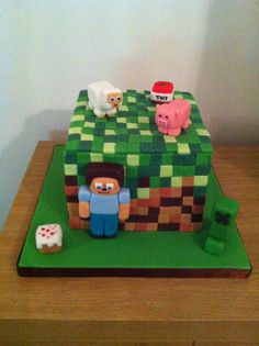 Minecraft cake with Steve and TNT candles Homemade by Hollie