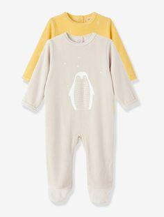 f720d28889df9 Lot de 2 pyjamas bébé velours - Jaune clair imprimé - 1 Pyjama Naissance