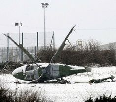 British military helicopter brought down by ground-fire from an Active Service Unit of the Irish Republican Army, British Occupied North of Ireland, 1990s