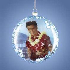 elvis presley 3 d blue hawaii album cover christmas ornament