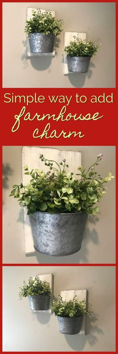 These would be perfect in my living room! Galvanized Wall Decor, Farmhouse Wall Decor, Wall Decor, Wall Planter, Home Decor, Galvanized Decor, Greenery, Fixer Upper, Rustic Decor #ad