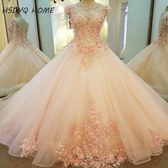 HSDYQ HOME 2017 Pink Champagne Wedding dresses  the bride lace flower wedding Bridal gown Real Photo party formal dress