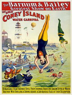 The Great Coney Island Water Carnival c.1898 http://www.vintagevenus.com.au/products/vintage_poster_print-c215