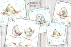 Happy easter watercolor kit III by Peace ART on @creativemarket