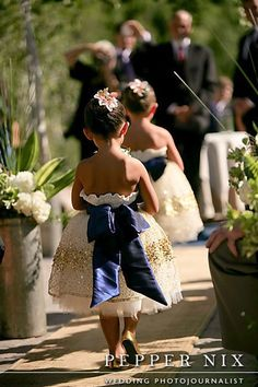 NAVY AND GOLD. ya know for you and jake's girls as my flower girls at my wedding :) poofy flower girl dress and huge bow! Wedding Wishes, Wedding Bells, Wedding Events, Weddings, Perfect Wedding, Dream Wedding, Wedding Day, Wedding Stuff, Wedding Colors