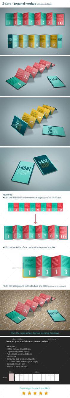 Z-Card Mock-up - 10 Panels C-Fold - Print #Product #Mock-Ups Download here: https://graphicriver.net/item/zcard-mockup-10-panels-cfold/19454292?ref=alena994