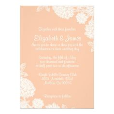 Elegant Coral Wedding Invitations Custom Invitation