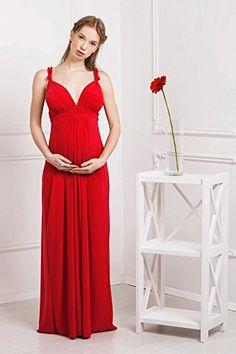 1fdbf6223ca6 Abito prémaman - maxi Luisa - gravidanza e allattamento - senza maniche -  Rosso - taglia 44. Elegante.