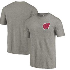 Wisconsin Badgers Fanatics Branded Left Chest Distressed Logo Tri-Blend T-Shirt - Gray - $24.99