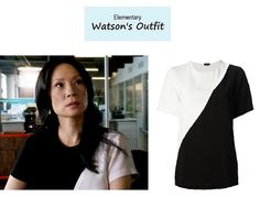On the blog: Joan Watson's (Lucy Liu) black and white colorblock blouse   Elementary   i noticed this shirt during the show. nice.