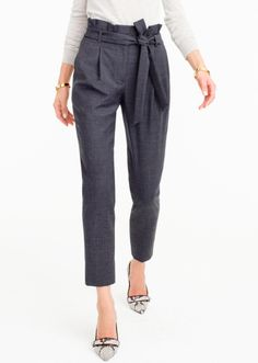 Wool Flannel Pants with Paper Bag Waist - 40% off