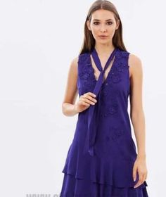e7cd4c8ee77 Karen Millen Pussy Bow Purple Embellished Frill Party Cocktail Dress 8- 14  DZ170 #karenmillendress