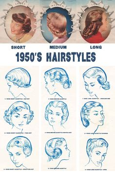 1950s Hairstyles Chart for your hair length