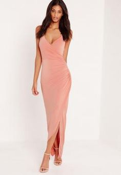 6bf2aee000b0 102zł missguided Chain Strap Ruched Back Maxi Dress Pink