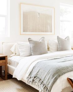 neutral home decor home decor neutral bedroom decor, peaceful serene bedroom with neutral bedding and modern artwork over bed, nightstand decor and white bedding Neutral Bedroom Decor, Serene Bedroom, Cozy Bedroom, Home Decor Bedroom, Modern Bedroom, Living Room Decor, Master Bedroom, Neutral Bedding, Bedroom Furniture