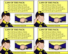 Handout version of the Law of the Pack 8x10 printable on this board. I affixed these to the backs of the Cub Scout Law handouts, and then laminated them for durability. Perfect for sending home for Cub Scouts to study and memorize!