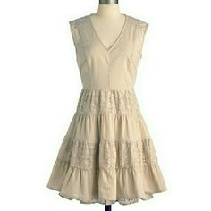 Modcloth Esley Make You Stop Shortbread Small Super cute tan dress by Esley. The top is slightly see through so I'd recommend wearing a cami underneath :) Only worn a few times. Esley Dresses