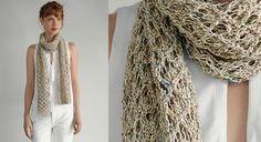 Ce fil légèrement chiné est en lin et coton bio. Idéal pour une écharpe légère au toucher frais et léger, à tricoter dans un point ajouré fantaisie. Taille unique : l'étole terminée ...
