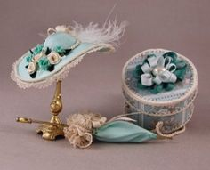miniature hat, parasol and hat box