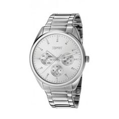 Stylish women's watch in stainless steel from the Esprit Time. Color: Silver Size: 38 mm Water resistance: 100 meters Material: Stainless steel Features: 24-hour clock, day and date Warranty: 2 years