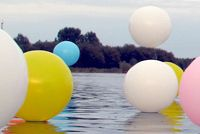 Installation, balloons on water. In collaboration with artist Renee Reijnders. Netherlands. 2010