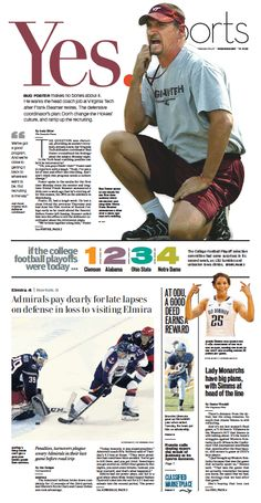 The Virginian-Pilot's Sports front page for Wednesday, Nov. The Virginian, Newspaper Layout, Newspaper Design, Page Design, News Design, Cool Typography, Publication Design, Cover Pages