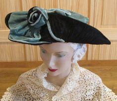 Antique 1900s Edwardian Turquoise Black Velvet Ladies Hat French FANCY
