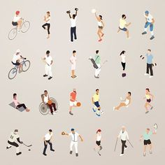 Sports and Fitness People - Flat Icons Illustration - #architecture