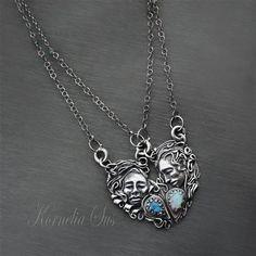 KORNELIA SUS - Wietrzna miłość- srebrny naszyjnik z labradorytem i opalem szlachetnym