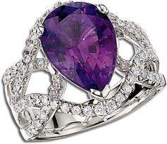 14k white gold 5.26 ct. pear-shaped amethyst ring has 72 round diamonds surrounding in an interwoven design, 1.27ctw by Gottlieb & Sons