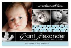 Grant Contemporary Boy Birth Announcement