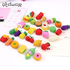 3207394fa0b3d5 1Pack Creative Rubber Stationery Pencil Erasers Fruit Cuisine Shape Eraser  for Office Kids Prize Writing Drawing