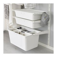 Storage under desk ? IKEA ALGOT box Practical for storing large and small things or to sort waste. Ikea Algot, Closet Organization, Closet Storage, Small Condo Decorating, Ikea Laundry, Ikea Desk, Closet Designs, Affordable Furniture, Home Furnishings