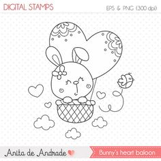 50% OFF Bunny's Heart Baloon Stamp - personal and commercial use, line art, graphics, digital clip art, digital images - S002