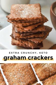 Low carb graham crackers recipe is the perfect sweet and crispy holiday cracker! Complete your holiday cookie spread with this flawless cinnamon-y snack! Keto Foods, Healthy Low Carb Recipes, Keto Snacks, Low Carb Keto, Keto Sweet Snacks, Diabetic Snacks, Keto Cookies, Cookies Et Biscuits, Chip Cookies
