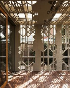 An interplay of light and shadow is created by this laser-cut lattice.  Fiona Dunin, of FMD Architects