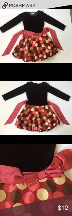 Black Velvet/Taffeta Bottom Dress Young Girls' Black Velvet/Taffeta Bottom Dress Young Girls' Dress with Red Satin Sash and Bow on Waist, lightly used in excellent condition Bonnie Jean Dresses Formal