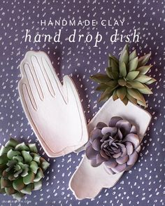 Our clay hand drop dish is the perfect introduction to working with clay at home as it air dries and is easy to clean up. Diy Craft Projects, Diy Crafts For Kids, Craft Ideas, Decor Ideas, Diy Clay, Clay Crafts, Weekend Crafts, Newspaper Basket, Cardboard Art