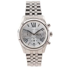 This Michael Kors watch features a silver dial hosting Roman numeral markers and three chronograph subdials. A fluted steel bezel and detailed bracelet complete the classic appearance of this timepiece.