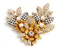 """Signed Miriam Haskell brooch -Russian gold plated leaf filigrees handwired with glass seed pearsl and crystal rose montees. Measures 2.25"""" wide by 2"""" in height."""
