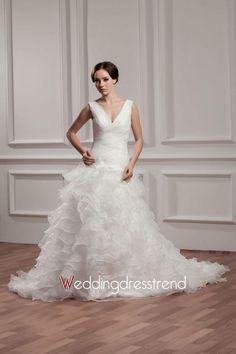 Amazing V-Neck Ruffled Organza Wedding Dress