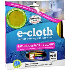 E-Cloth Bathroom Pack - 2 Pack Diy Mold Remover, Bathroom Mold Remover, Mildew Remover, Mold Removal, Cleaning Bathroom Mold, Mold In Bathroom, Chemical Free Cleaning, Deep Cleaning