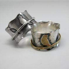 Birds on a Wire zilveren Spinner Ring met keuze van Sterling, messing of Cooper verhoogd vogel