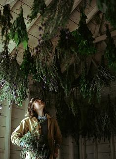 I love the idea of dried herbs hanging from the roof.