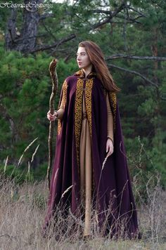 Medieval Hooded Purple Cloak Gold Embroidered Fairy Tale Cape