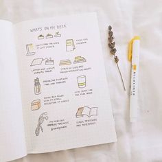 "Bullet journal ""What's on my Desk"" page. Bullet Journal Planner, Bullet Journal Notes, Bullet Journal Spread, Study Journal, Journal Layout, Journal Pages, Bujo, Notes Taking, Bullet Journal Inspiration"