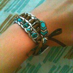 Brown and teal pop-top bracelet. Super easy to make!