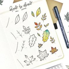 shibadoodle on See the intricate details of this fall leaves step by step by planwithady It uses different pen tip sizes. And the color combo of Bullet Journal Banner, Bullet Journal Aesthetic, Bullet Journal Notebook, Bullet Journal 2019, Bullet Journal Ideas Pages, Bullet Journal Inspiration, Bullet Journal Leaves, Autumn Bullet Journal, Doodle Drawings